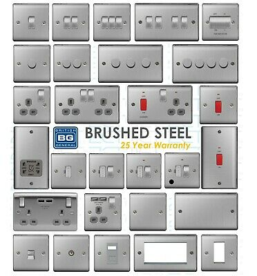 BG Nexus BRUSHED STEEL Metal Switches & Sockets + USB Satin Chrome ALL Inserts • 9.95£