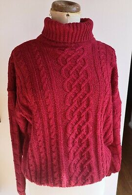 Chunky Red Aaron Knit Slouchy Cotton Boxy Jumper • 15£