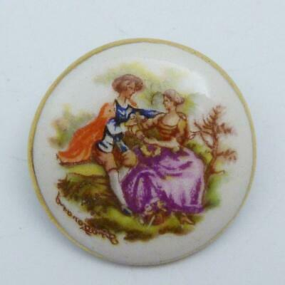 Vintage Porcelain Brooch Painted With A Scene Of A Courting Couple • 2.99£
