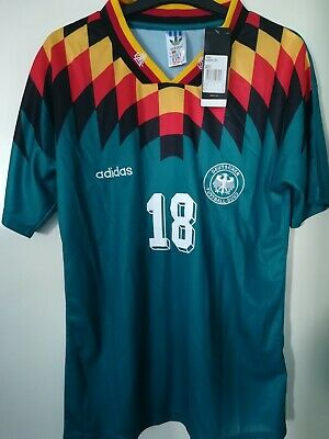 Retro With Tags Germany Away 90's Large Shirt Jurgen Klinsmann #18 Football Kit  • 19.99£