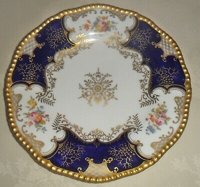 Coalport Deep Blue Batwing 9 1/4 Plate With Rope Twist Gilded Edging. • 10£