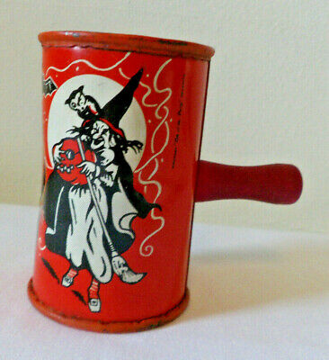$ CDN38 • Buy Vintage Kirchhof Halloween Witch Barrel Noisemaker Life Of The Party 1940s