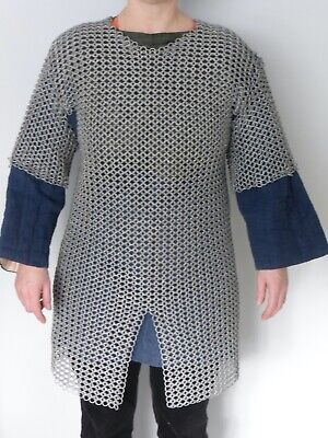 Medieval Armour For Re-enactment, Hand Made Galvanised Steel Chain-mail. • 99.99£