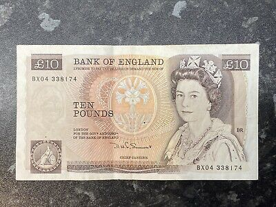 Bank Of England Old Ten Pound Note (£10) - D H F Somerset - Florence Nightingale • 10.67£