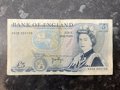 Bank Of England Old £5 Five Pound Note Series D - Duke Of Wellington - John Page • 6.50£