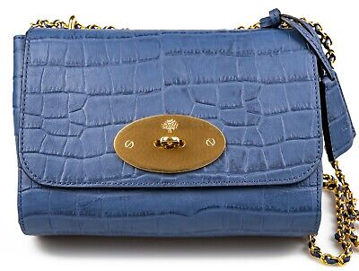 £950 MULBERRY Lily Croc Emboss Shoulder Bag Pale Navy| 100% Authentic Wt Receipt • 720£