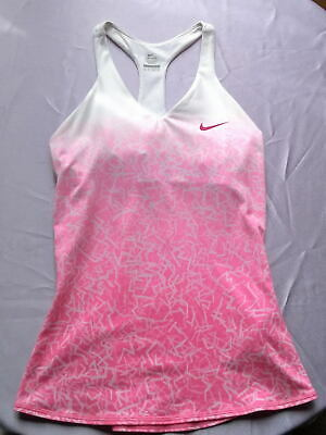 RARE NIKE SPORTS Tennis GIRLS WOMEN LADIES TOP PINK With Bra UK Size XS • 35£