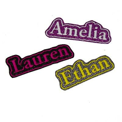 Personalised Embroidered Name Frame Patch Badge Glitter Colour Iron On Sew On A9 • 2.99£