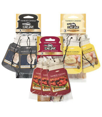 Yankee Candle Single Paper 2d Car Jar Air Freshener - Pack Of 3 ** Choose ** • 6.95£