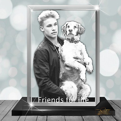 £135.98 • Buy Gifts For Him - 3D Photo Glass Crystal Block Personalised - Dad, Boyfriend Gift