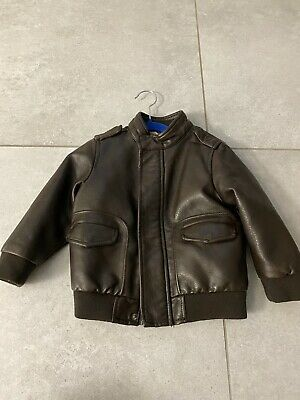 Zara Boys Faux Leather Aviator Jacket 18-24 Months Excellent Condition • 18.99£