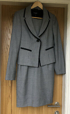 Hobbs Black And White Houndstooth Matching Dress And Jacket Size 10 VGC. • 35£