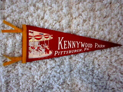 $75 • Buy 1940's Pittsburgh Pa. KENNYWOOD Amusement Park Carousel Illustrated Pennant NM