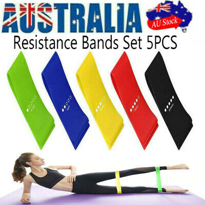 AU6.99 • Buy 5PCS Resistance Bands Set Power Heavy Strength Fitness Exercise Gym Yoga Gift