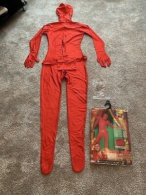Mens Second Skin Red Bodysuit Full Body Lycra Fancy Dress Party Costume Outfit • 4£