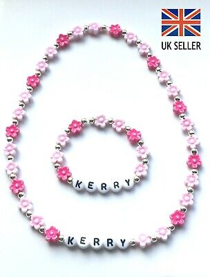 Children's Personalised Pink Flowers Necklace & Bracelet Set Birthday - Any Name • 3.59£