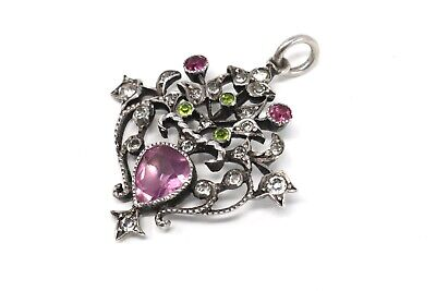 A Gorgeous Antique Edwardian Sterling Silver 925 Pink Green White Paste Pendant • 20£