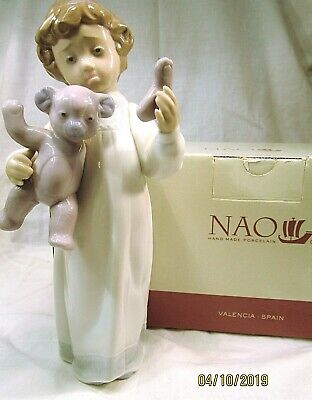 LLADRO/NAO Pretty Young Girl With Her Teddy Bear  Poor Teddy    Boxed • 16£