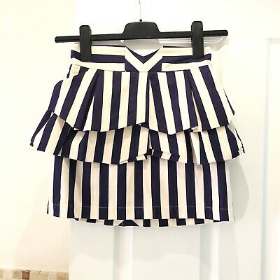 Topshop Size 10 Striped Peplum Layer Blue And White Skirt - Worn Once • 16£