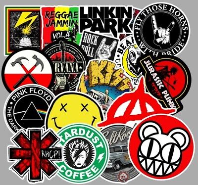£5.77 • Buy 100 Rock Stickers Metal Punk Bands Guitar Amp Music Decal Stickerbomb Skateboard