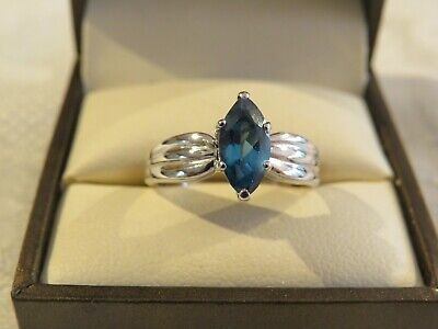 9 Carat White Gold Ring Set With A Marquise Blue Topaz Solitaire Excellent Cond • 109.99£