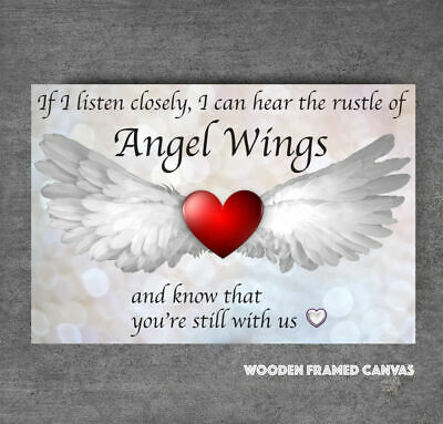Superb Grey Angel Wings Heart Canvas Picture  If I Listen Closely  Word Art #29 • 19.99£
