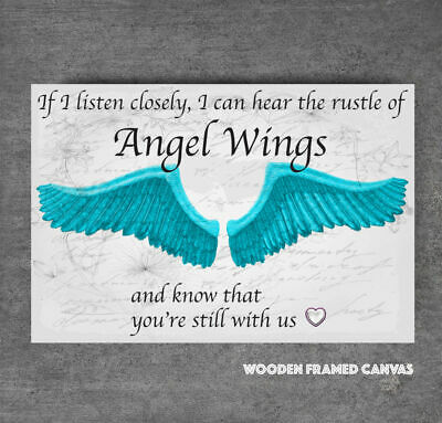 Superb Blue Angel Wings Grey Canvas Picture  If I Listen Closely  Word Art #30 • 19.99£