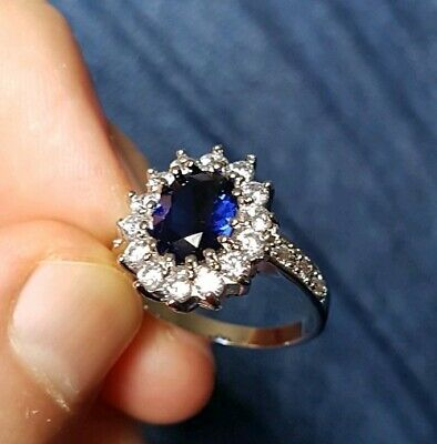 Womans Size N. 4CT Blue Sapphire & White Topaz 14K White Gold Plated Ring • 7.98£