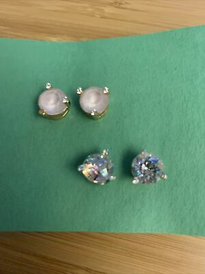 $ CDN1.30 • Buy Kate Spade Stud Earring Two Pack. Pink And Aurora Borealis.