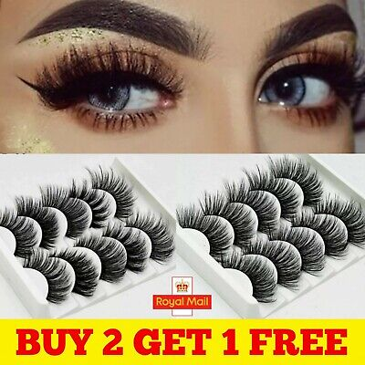 5 Pair🔥3D Mink🔥False Eyelashes🔥Wispy Cross Long Thick Soft Fake Eye Lashes UK • 2.99£