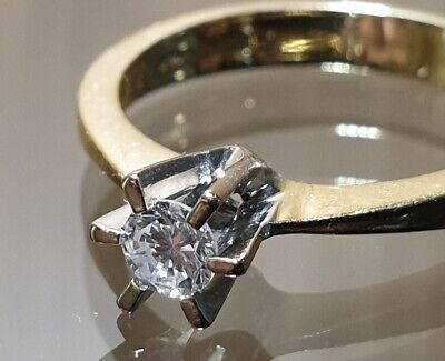 18ct Yellow Gold Diamond Solitaire Engagement Ring Size N/O • 270£