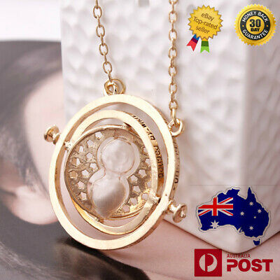 AU6.89 • Buy Harry Potter Hermione Granger Gold Tone Hourglass Necklace Pendant Time Turner