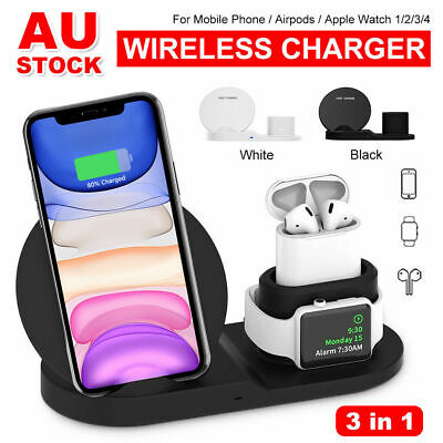 AU27.99 • Buy 3 In 1 Qi Wireless Charger Charging Dock Stand Station For IPhone 12 Pro Watch