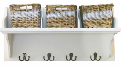£34.99 • Buy 3 Set Willow Wicker Baskets Storage Unit And Coat Hooks Wooden Shelf Rack Stand