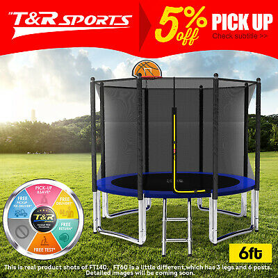 AU229.99 • Buy 15%OFF Pop Master 6FT Flat Trampoline W/ Basketball Hoop Ladder Kids Outdoor.