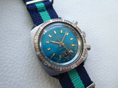 $ CDN75.32 • Buy Rare Vintage German UMF RUHLA Chronograph Men's Diver Watch From 1970's Years!