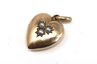 A Pretty Antique Edwardian C1901 15ct Yellow Gold Pearl Heart Pendant #24048 • 6.50£