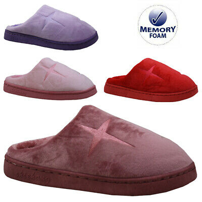 Ladies Memory Foam Slip Fleece Lined Warm Moccasins Slippers Winter Mules Size • 7.95£