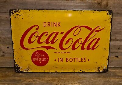 Large Vintage Style Coca-cola Advertising Sign. Shabby Chic Look. Distressed  • 10.95£