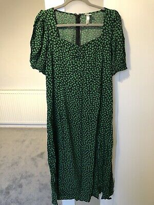 H&M Green Floral Midi Dress Size 16 • 0.99£