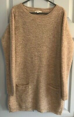 Monsoon Knitted Oatmeal Tunic/dress Long Sleeve 2 Front Pockets Round Neck SM • 4£