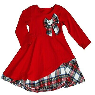 Girls Kids Bow Tartan Check Long Sleeved Casual Party Tutu Outfits Dress Age 8 Y • 10.49£
