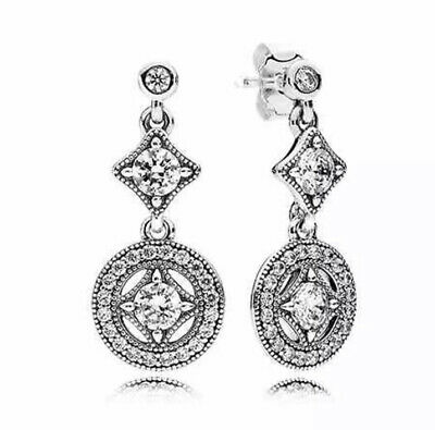 Pandora  Vintage Allure With Clear CZ Drop Earrings With A Pouch • 15£