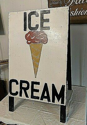 Vintage Metal And Wood Double Sided Ice Cream Cones Sidewalk Cafe Board Sign • 246.80£