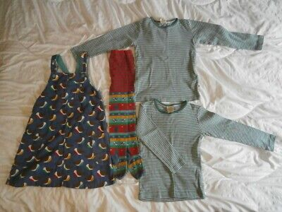 Frugi Corduroy Dungaree Pinafore Dress, Tights & 2 Tops Outfit Age 5-6-7 Years • 4.99£