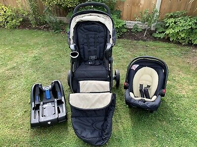 Graco Navy Travel System Single Seat Stroller With Infant Car Seat And 2 X Bases • 70£