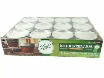 $23.95 • Buy Ball Quilted Crystal Jelly Jars Lids Rings Quarter Pint 4 Oz Regular Mouth 12Pk