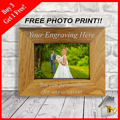 Personalised Engraved Photo Frame With Free Photo Print Birthday Gift Mum Gifts • 11.49£