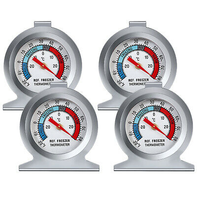 4 X Stainless Steel Refrigerator Freezer Thermometer Dial Temperature Gauge UK • 11.05£
