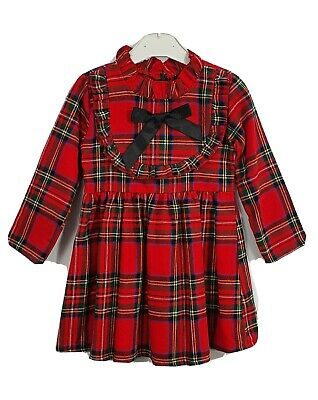 Girls Kids Bow Tartan Check Long Sleeved Casual Party Tutu Outfits Dress Age 6 Y • 10.29£